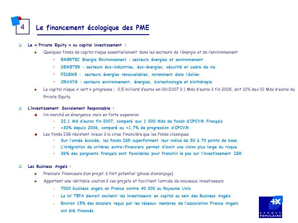 Le financement écologique des PME 4 Le « Private Equity » ou capital investissement : Quelques fonds de capital risque essentiellement dans les secteu