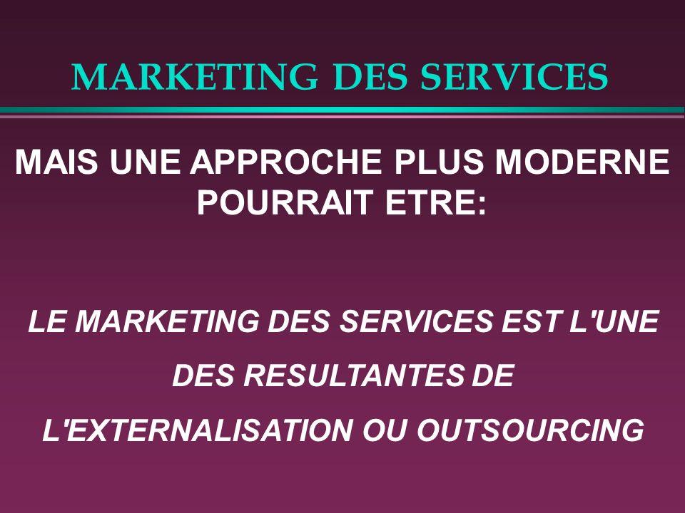 MARKETING DES SERVICES Le prestataire de service est bien fournisseur d'un « produit » industriel