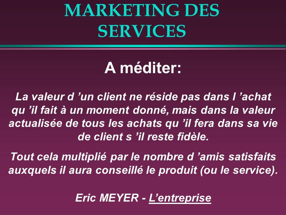 MARKETING DES SERVICES LES FACTEURS CLES DE SUCCES RESTENT: La Différenciation La Satisfaction du client Donc la QUALITE !