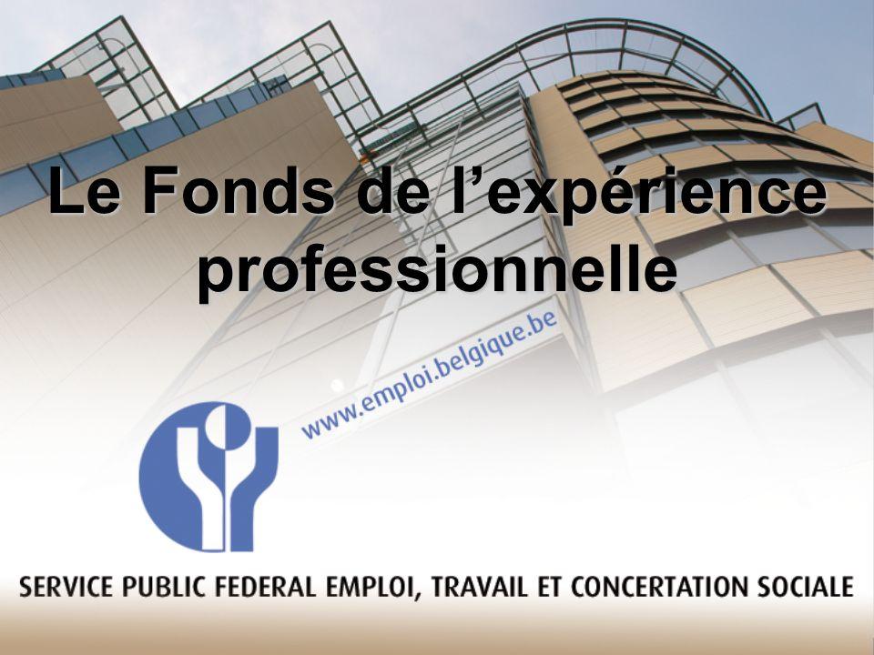 SPF EMPLOI, TRAVAIL & CONCERTATION SOCIALE Direction Générale Humanisation du travail Fonds de lExpérience Professionnelle Rue Ernest Blérot 1 1070 Bruxelles _______________________________________________________ Informations relatives aux développements de projet: Yvette CHARLET Tél : 02/233 45 63 yvette.charlet@emploi.belgique.be www.fondsdelexperienceprofessionnelle.be