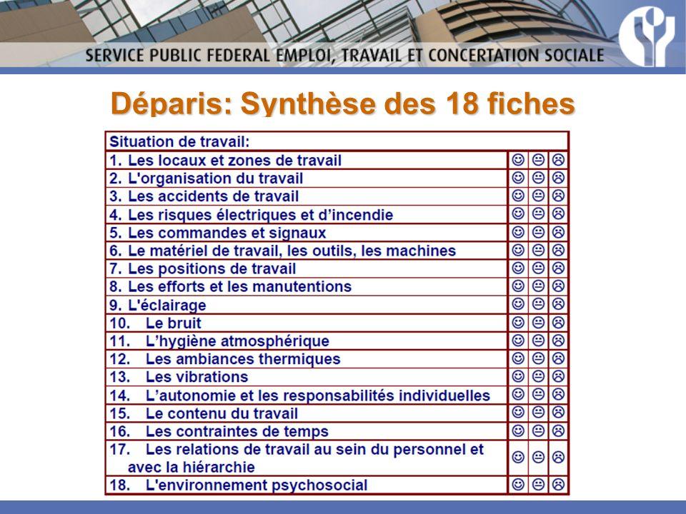 Déparis: Synthèse des 18 fiches