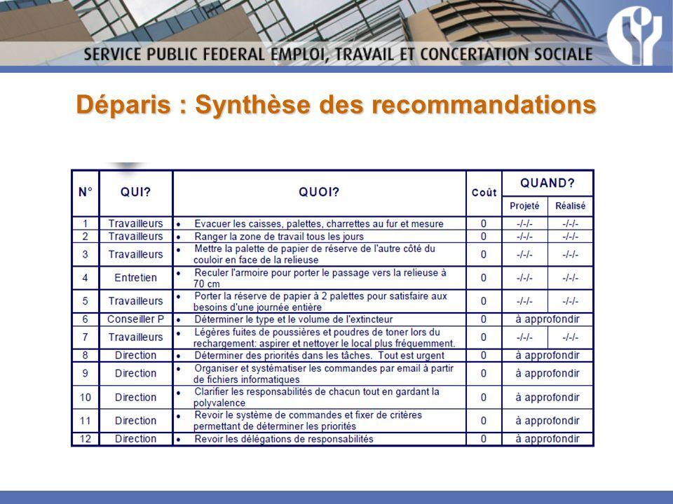 Déparis : Synthèse des recommandations