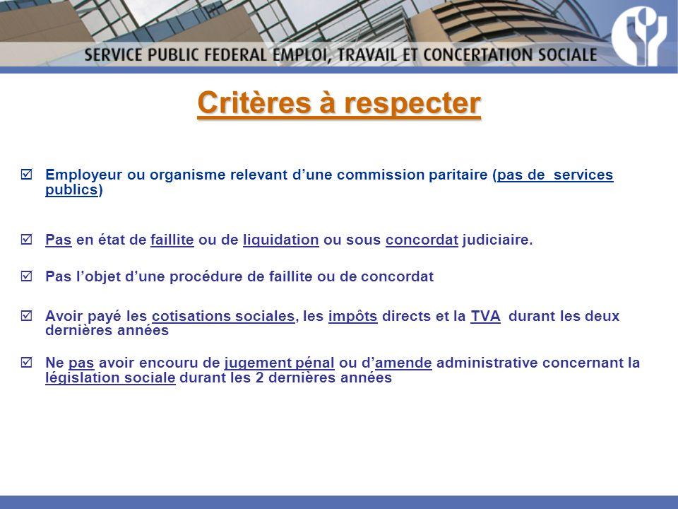 Critères à respecter Employeur ou organisme relevant dune commission paritaire (pas de services publics) Pas en état de faillite ou de liquidation ou