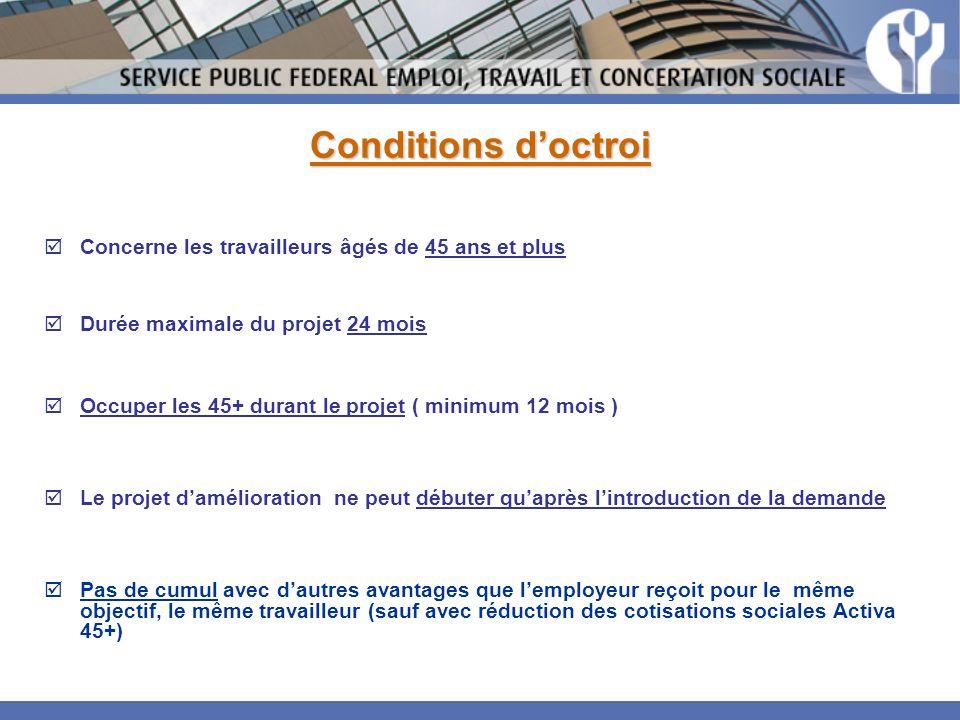Conditions doctroi Concerne les travailleurs âgés de 45 ans et plus Durée maximale du projet 24 mois Occuper les 45+ durant le projet ( minimum 12 moi