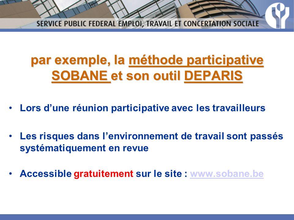 par exemple, la méthode participative SOBANE et son outil DEPARIS Lors dune réunion participative avec les travailleurs Les risques dans lenvironnemen