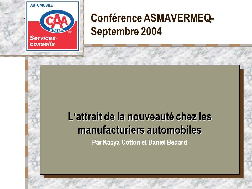 Conférence ASMAVERMEQ- Septembre 2004 Votre logo ici Lattrait de la nouveauté chez les manufacturiers automobiles Par Kacya Cotton et Daniel Bédard La