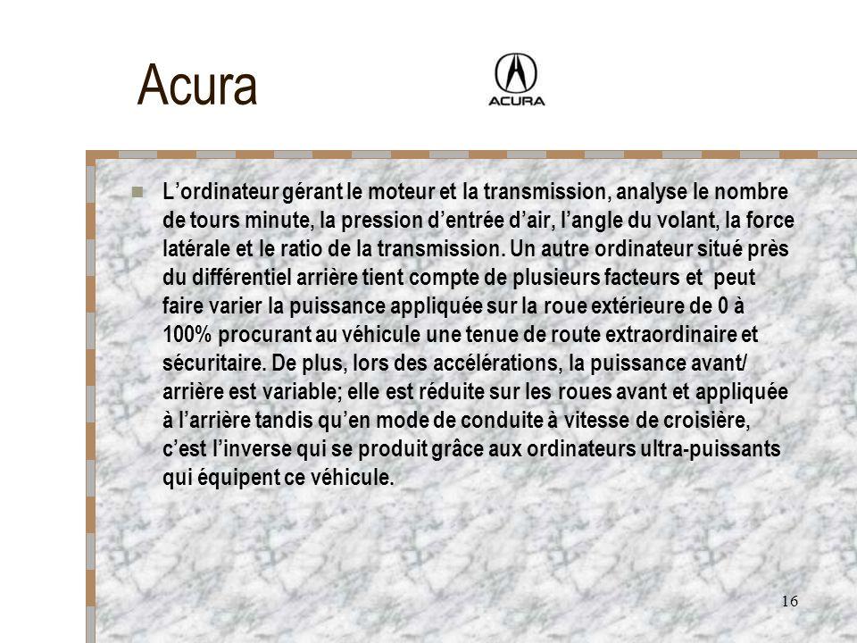 16 Acura Lordinateur gérant le moteur et la transmission, analyse le nombre de tours minute, la pression dentrée dair, langle du volant, la force laté