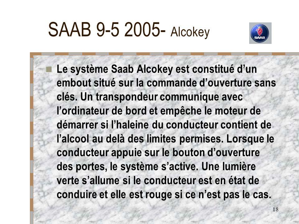 18 SAAB 9-5 2005- Alcokey Le système Saab Alcokey est constitué dun embout situé sur la commande douverture sans clés. Un transpondeur communique avec