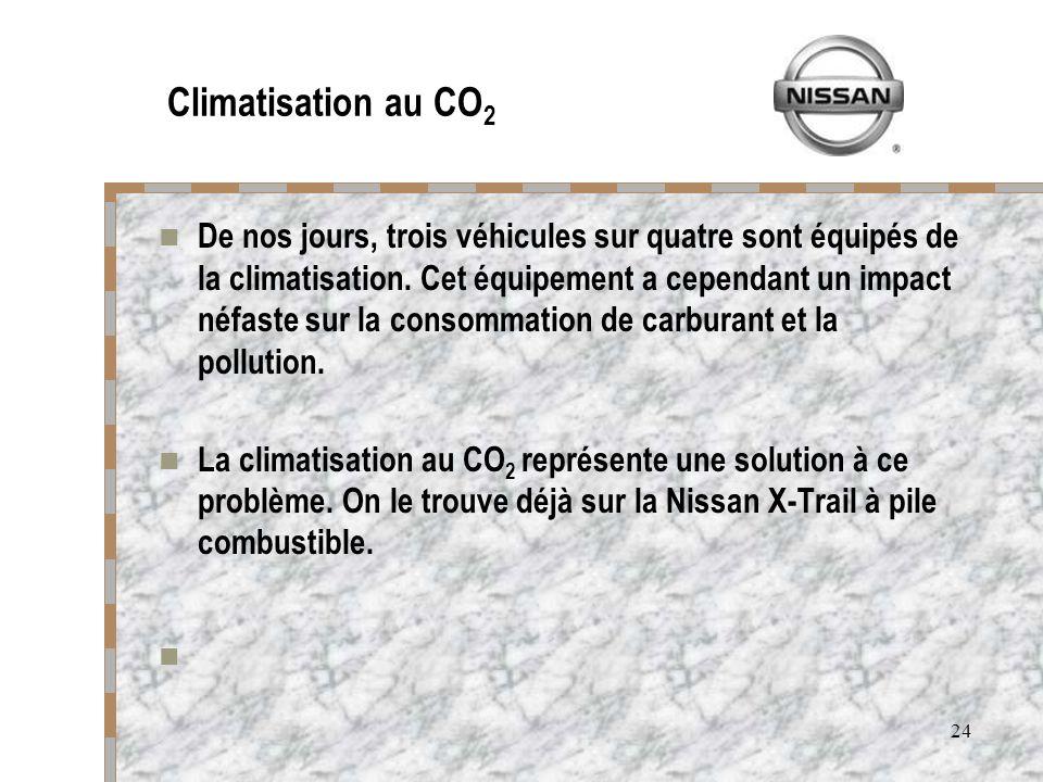 24 Climatisation au CO 2 De nos jours, trois véhicules sur quatre sont équipés de la climatisation. Cet équipement a cependant un impact néfaste sur l