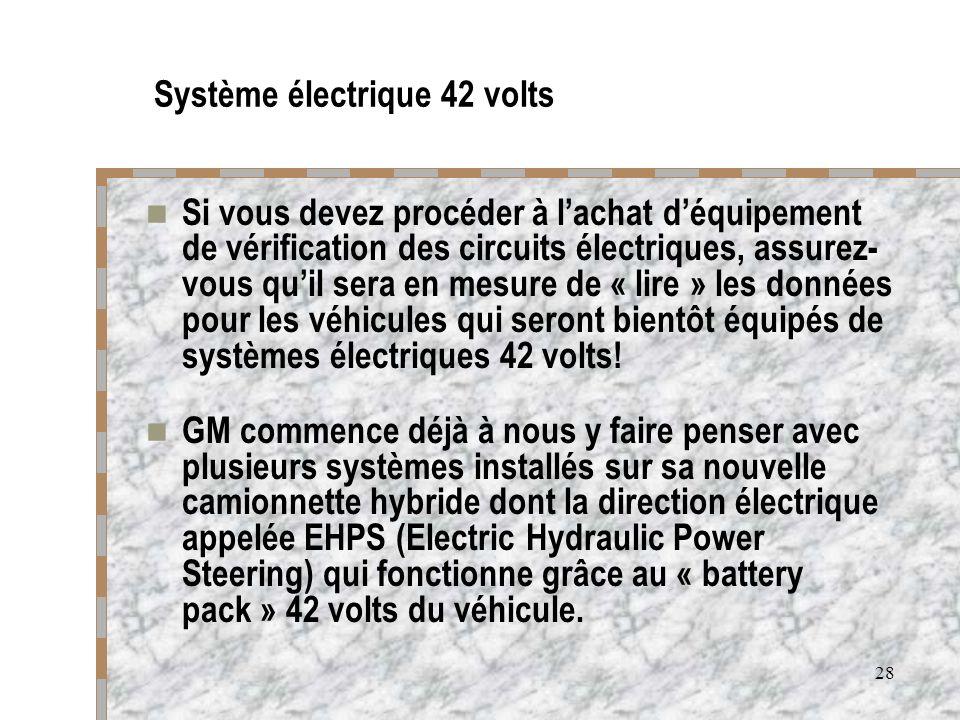 28 Système électrique 42 volts Si vous devez procéder à lachat déquipement de vérification des circuits électriques, assurez- vous quil sera en mesure