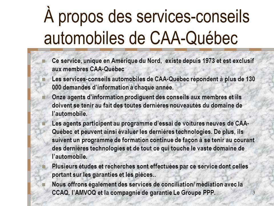 3 À propos des services-conseils automobiles de CAA-Québec Ce service, unique en Amérique du Nord, existe depuis 1973 et est exclusif aux membres CAA-