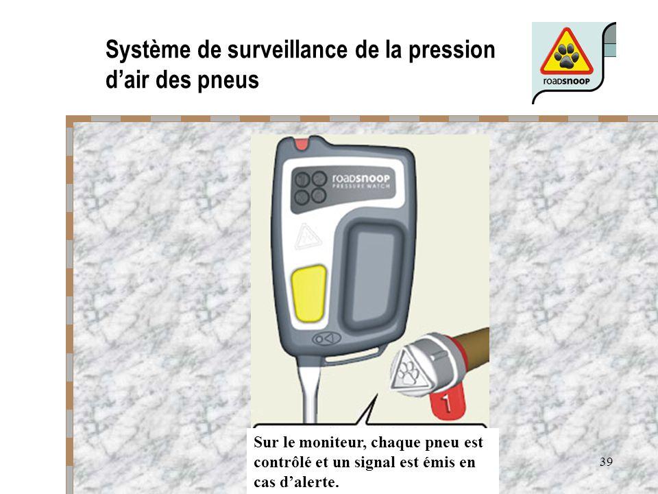 39 Système de surveillance de la pression dair des pneus Sur le moniteur, chaque pneu est contrôlé et un signal est émis en cas dalerte.