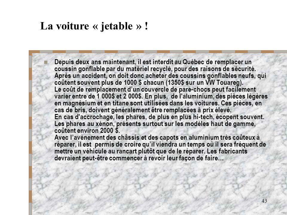 43 Depuis deux ans maintenant, il est interdit au Québec de remplacer un coussin gonflable par du matériel recyclé, pour des raisons de sécurité. Aprè