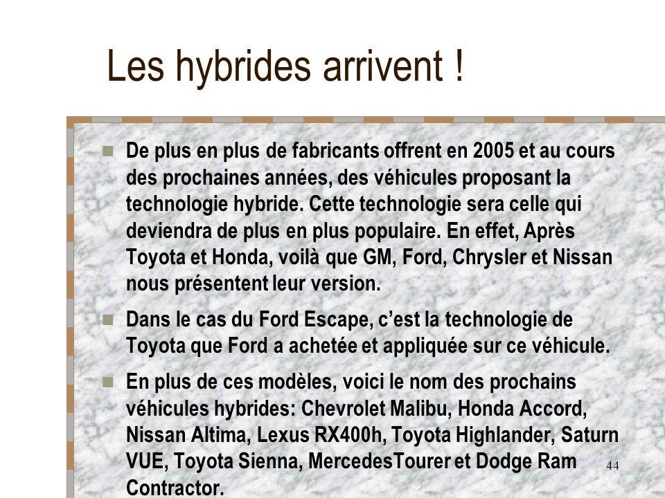 44 Les hybrides arrivent ! De plus en plus de fabricants offrent en 2005 et au cours des prochaines années, des véhicules proposant la technologie hyb