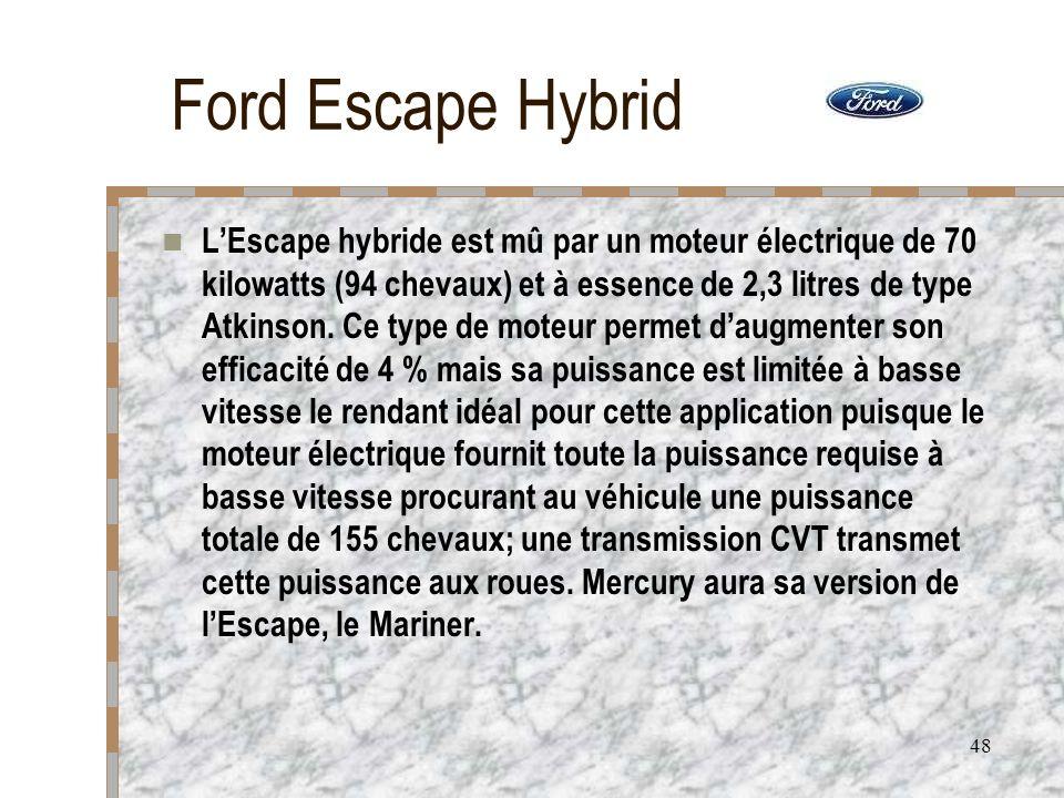 48 Ford Escape Hybrid LEscape hybride est mû par un moteur électrique de 70 kilowatts (94 chevaux) et à essence de 2,3 litres de type Atkinson. Ce typ