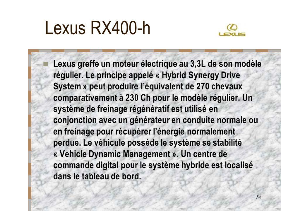 54 Lexus RX400-h Lexus greffe un moteur électrique au 3,3L de son modèle régulier. Le principe appelé « Hybrid Synergy Drive System » peut produire lé