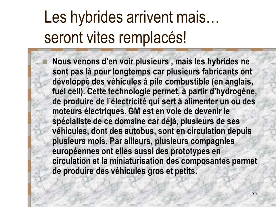 55 Les hybrides arrivent mais… seront vites remplacés! Nous venons den voir plusieurs, mais les hybrides ne sont pas là pour longtemps car plusieurs f