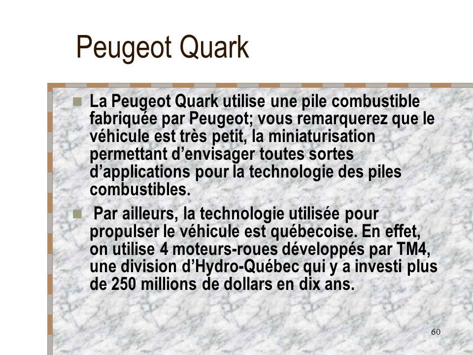 60 Peugeot Quark La Peugeot Quark utilise une pile combustible fabriquée par Peugeot; vous remarquerez que le véhicule est très petit, la miniaturisat