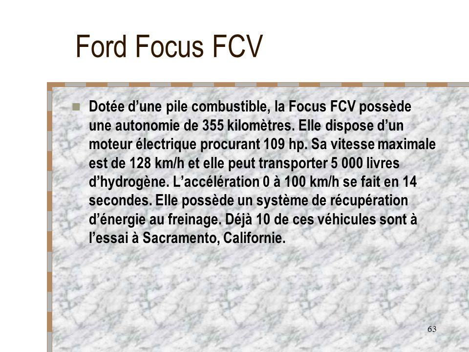 63 Ford Focus FCV Dotée dune pile combustible, la Focus FCV possède une autonomie de 355 kilomètres. Elle dispose dun moteur électrique procurant 109