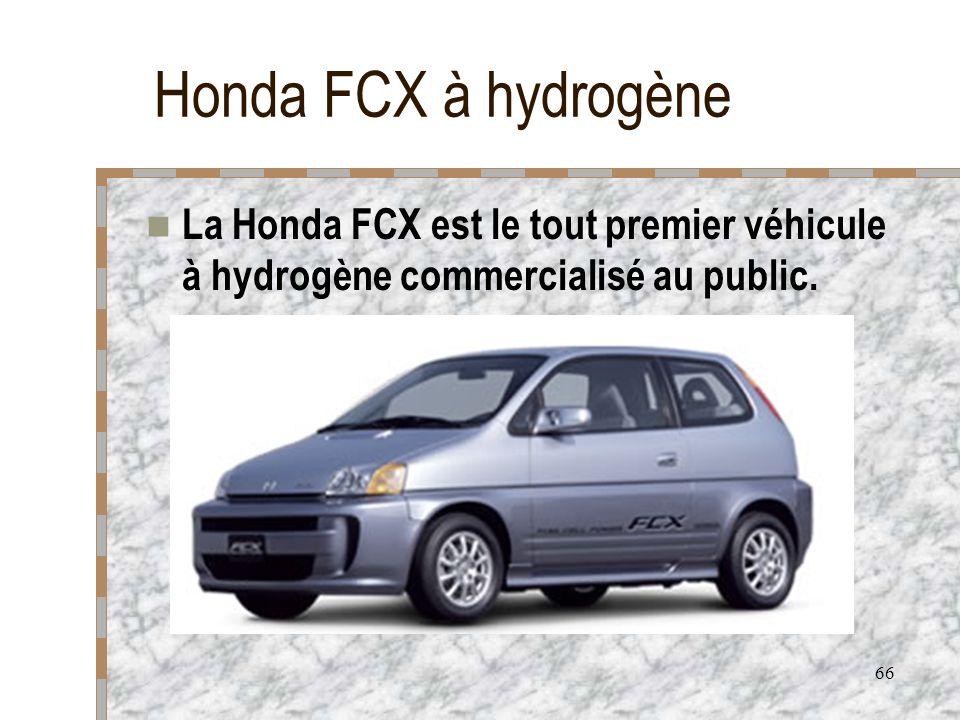 66 Honda FCX à hydrogène La Honda FCX est le tout premier véhicule à hydrogène commercialisé au public.