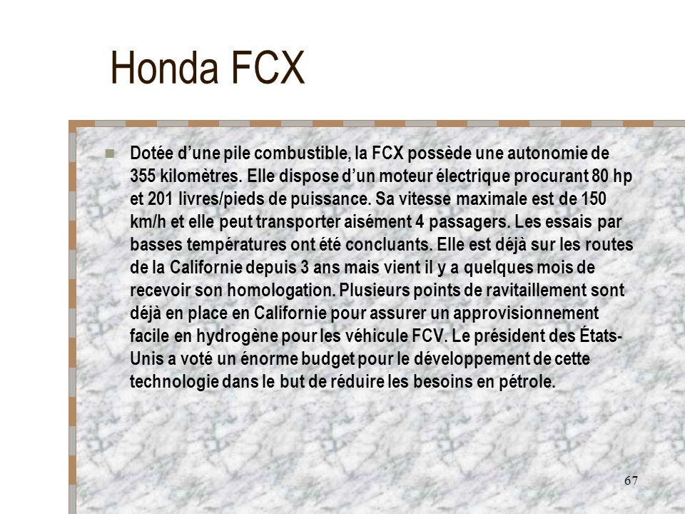 67 Honda FCX Dotée dune pile combustible, la FCX possède une autonomie de 355 kilomètres. Elle dispose dun moteur électrique procurant 80 hp et 201 li