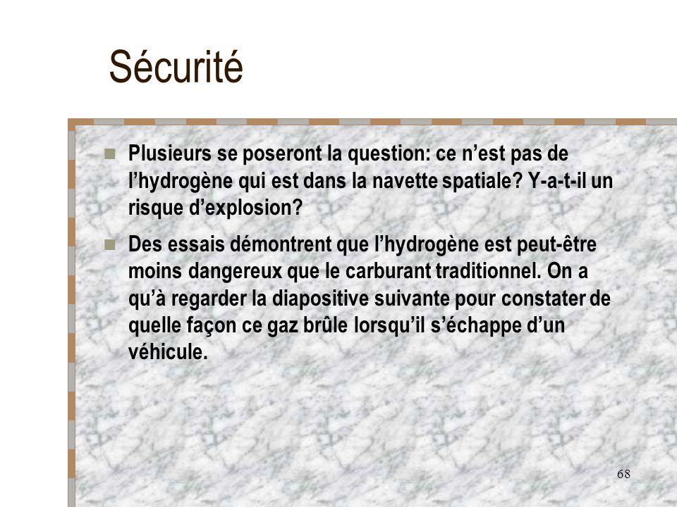 68 Sécurité Plusieurs se poseront la question: ce nest pas de lhydrogène qui est dans la navette spatiale? Y-a-t-il un risque dexplosion? Des essais d