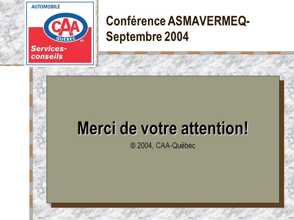 Votre logo ici Merci de votre attention! © 2004, CAA-Québec Merci de votre attention! © 2004, CAA-Québec