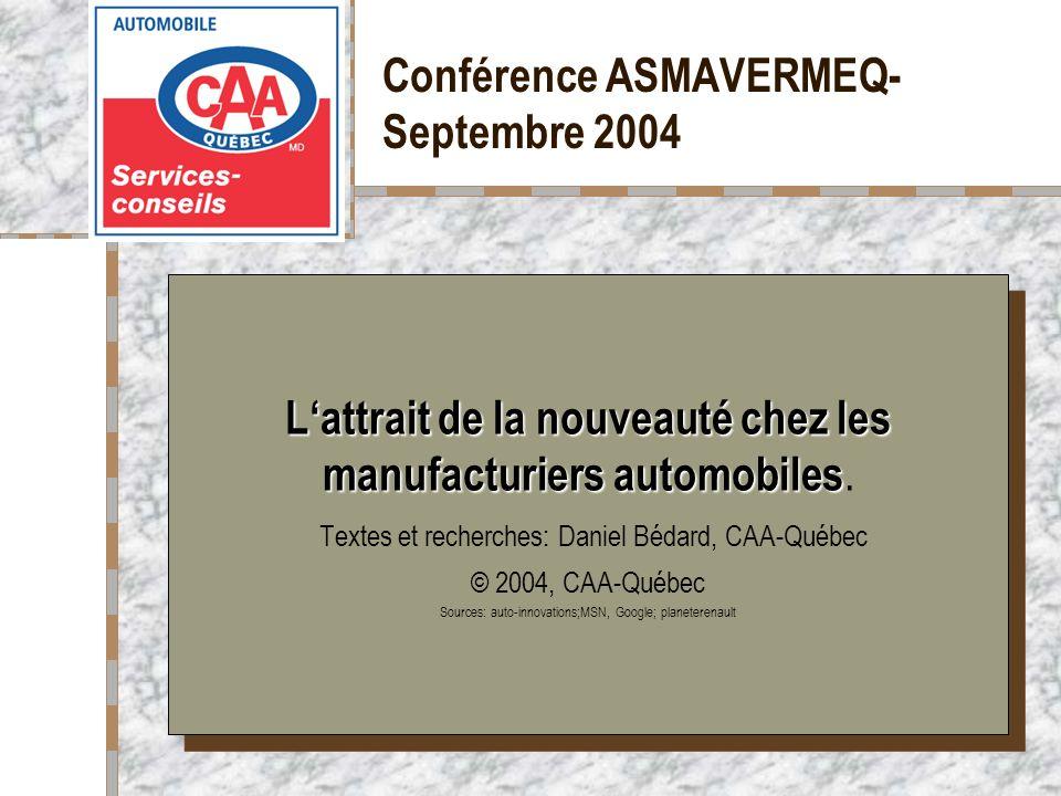 Conférence ASMAVERMEQ- Septembre 2004 Votre logo ici Lattrait de la nouveauté chez les manufacturiers automobiles Lattrait de la nouveauté chez les ma