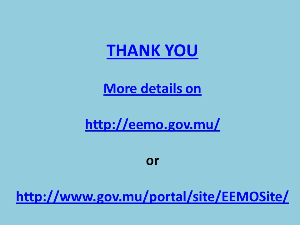 THANK YOU More details on http://eemo.gov.mu/ or http://www.gov.mu/portal/site/EEMOSite/