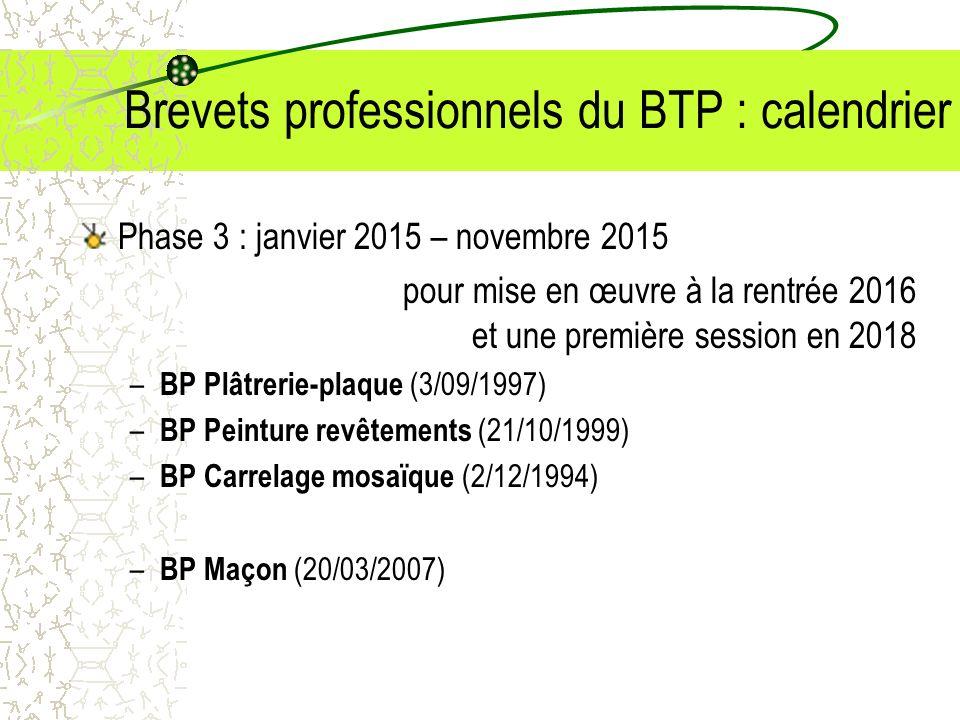 Brevets professionnels du BTP : calendrier Phase 3 : janvier 2015 – novembre 2015 pour mise en œuvre à la rentrée 2016 et une première session en 2018