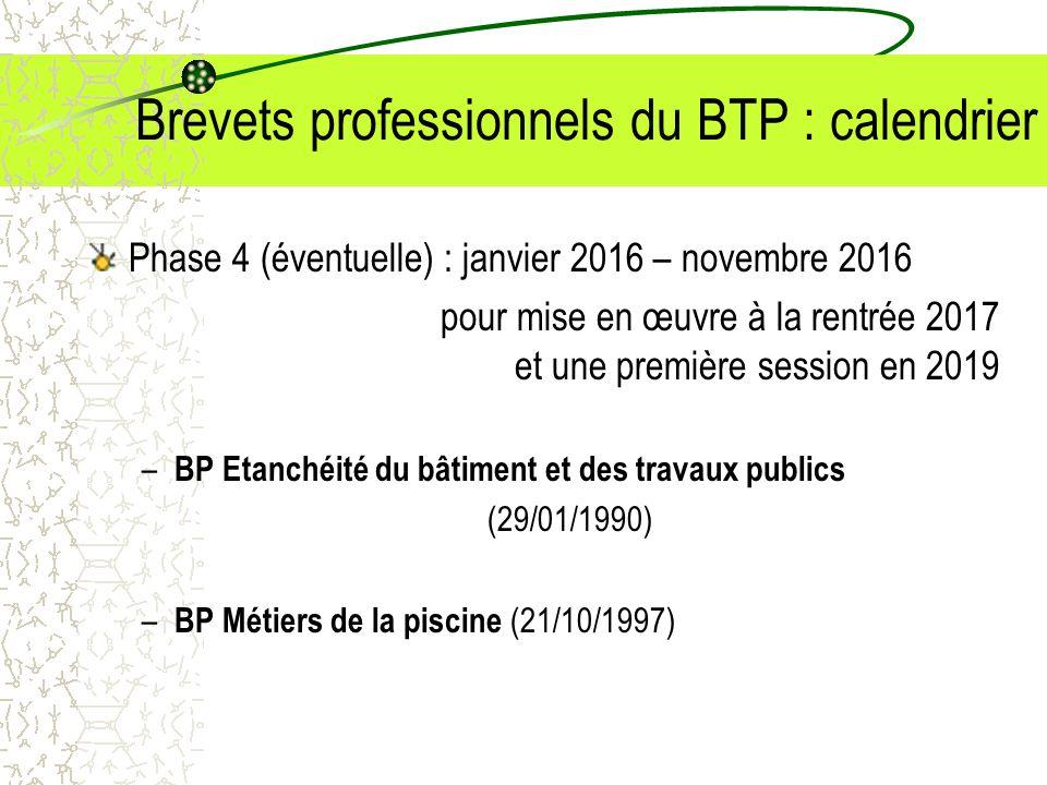 Brevets professionnels du BTP : calendrier Phase 4 (éventuelle) : janvier 2016 – novembre 2016 pour mise en œuvre à la rentrée 2017 et une première se