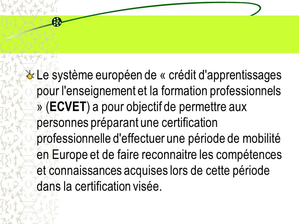 Le système européen de « crédit d'apprentissages pour l'enseignement et la formation professionnels » ( ECVET ) a pour objectif de permettre aux perso