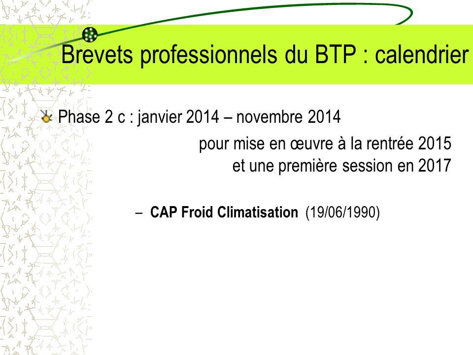 Brevets professionnels du BTP : calendrier Phase 2 c : janvier 2014 – novembre 2014 pour mise en œuvre à la rentrée 2015 et une première session en 20