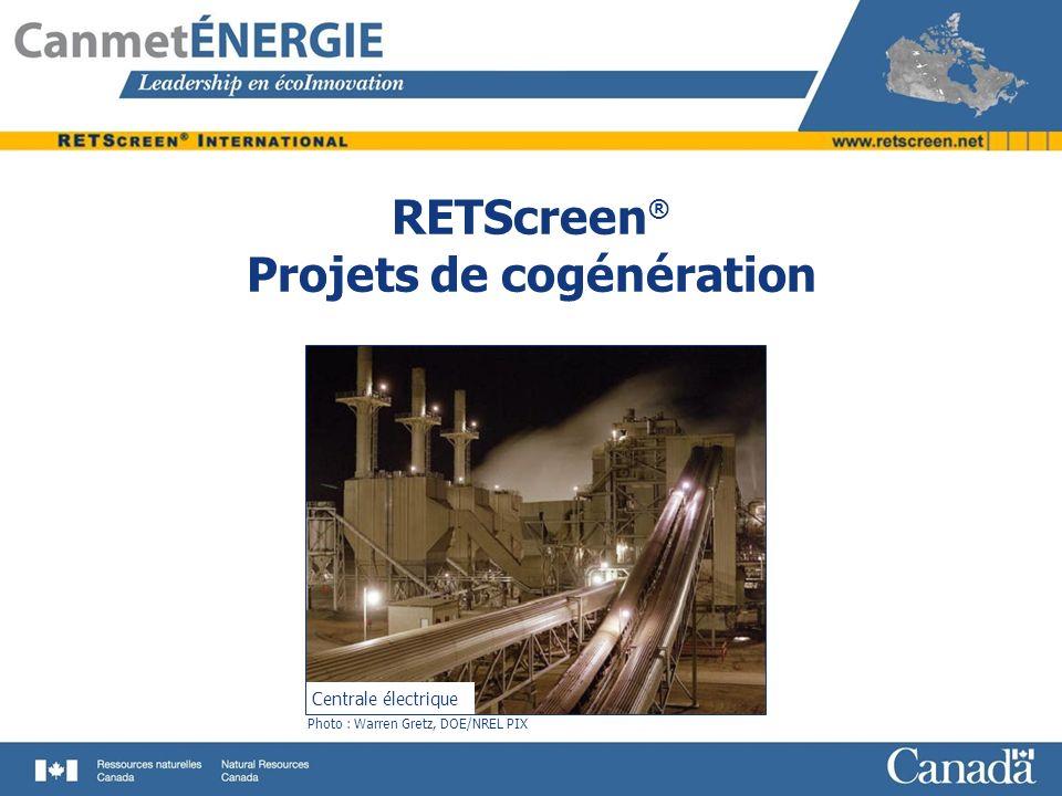 Objectifs Réviser les principes de base des systèmes de cogénération Décrire les enjeux importants dans lanalyse des projets de cogénération Présenter le modèle RETScreen ® pour les projets de cogénération