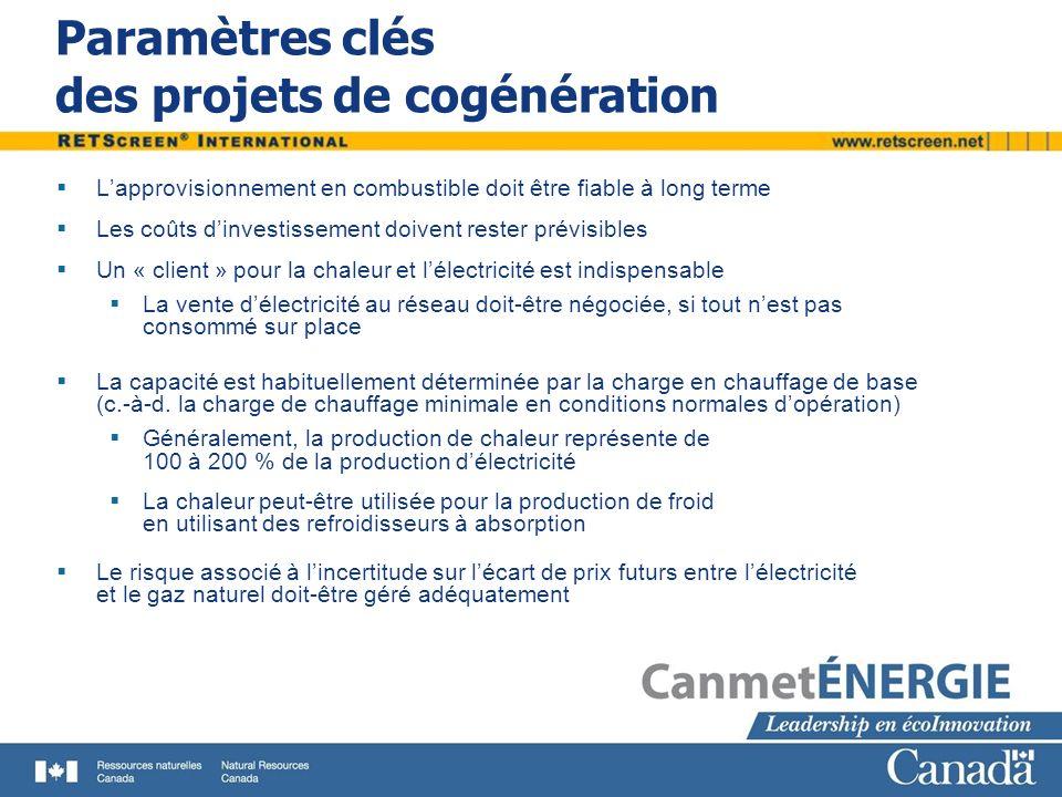 Paramètres clés des projets de cogénération Lapprovisionnement en combustible doit être fiable à long terme Les coûts dinvestissement doivent rester p
