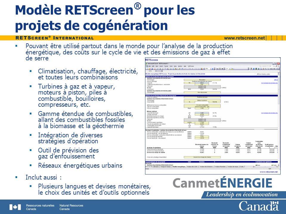 Modèle RETScreen ® pour les projets de cogénération Pouvant être utilisé partout dans le monde pour lanalyse de la production énergétique, des coûts s