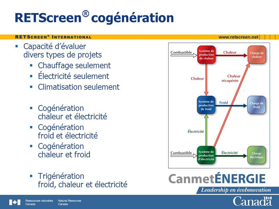 RETScreen ® cogénération Capacité dévaluer divers types de projets Chauffage seulement Électricité seulement Climatisation seulement Cogénération chal