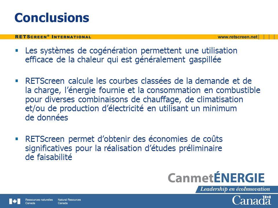 Conclusions Les systèmes de cogénération permettent une utilisation efficace de la chaleur qui est généralement gaspillée RETScreen calcule les courbe