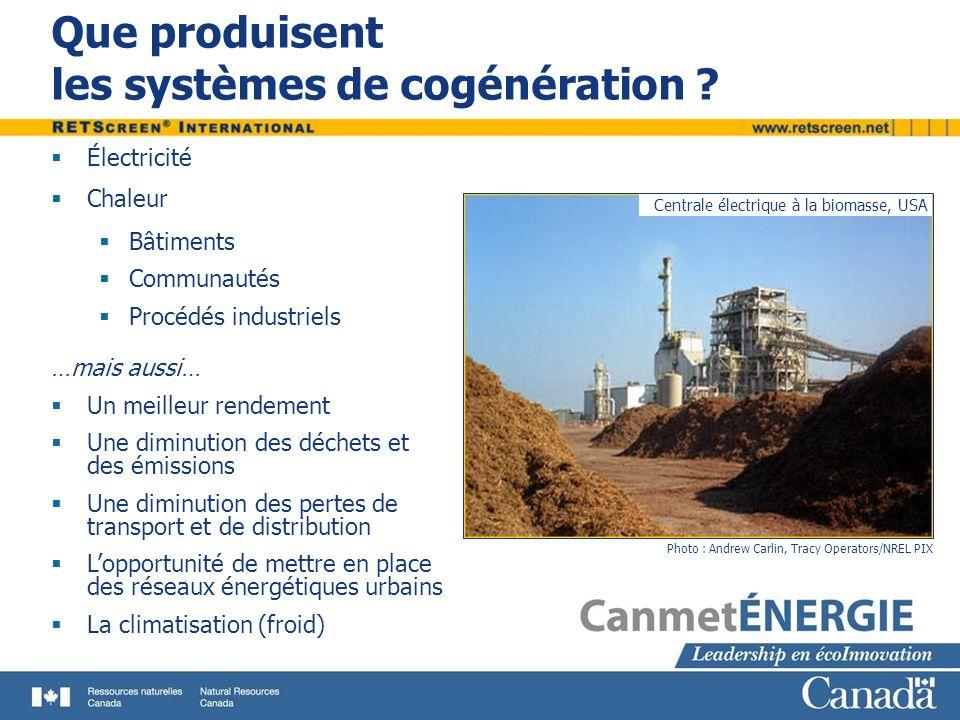 Que produisent les systèmes de cogénération ? Photo : Andrew Carlin, Tracy Operators/NREL PIX Centrale électrique à la biomasse, USA Électricité Chale