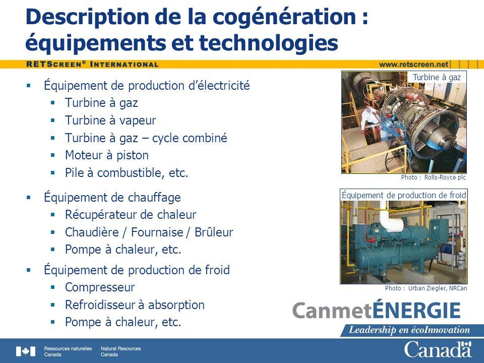 Description de la cogénération : équipements et technologies Équipement de production délectricité Turbine à gaz Turbine à vapeur Turbine à gaz – cycl