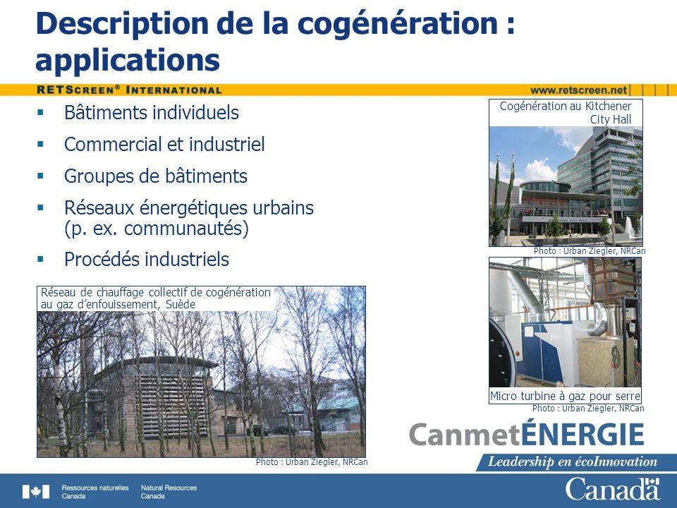 Description de la cogénération : applications Bâtiments individuels Commercial et industriel Groupes de bâtiments Réseaux énergétiques urbains (p. ex.