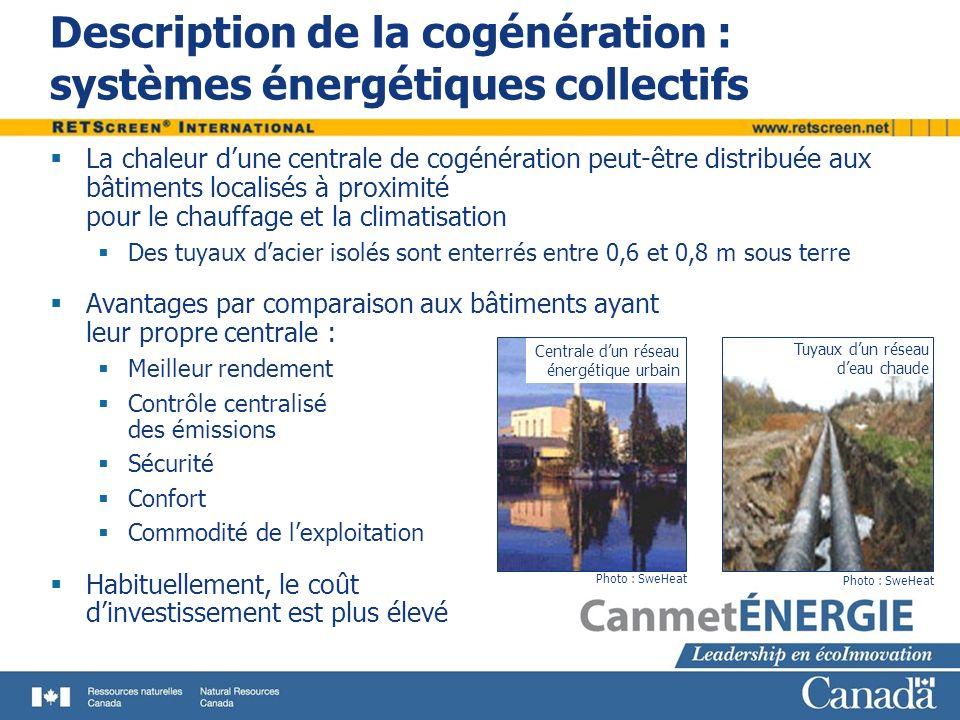 La chaleur dune centrale de cogénération peut-être distribuée aux bâtiments localisés à proximité pour le chauffage et la climatisation Des tuyaux dac