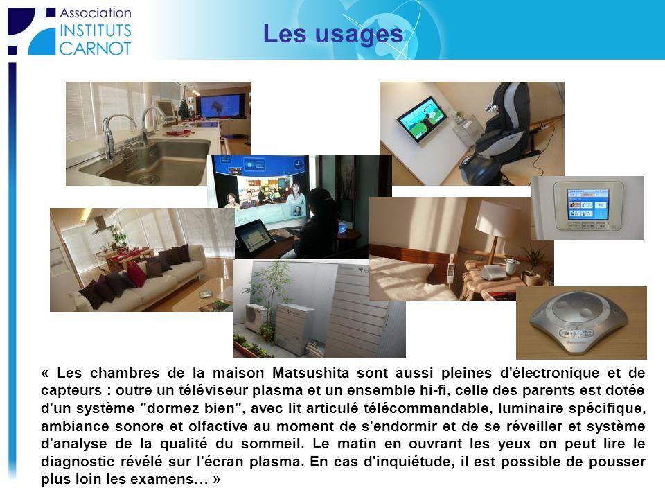 Les usages « Les chambres de la maison Matsushita sont aussi pleines d'électronique et de capteurs : outre un téléviseur plasma et un ensemble hi-fi,