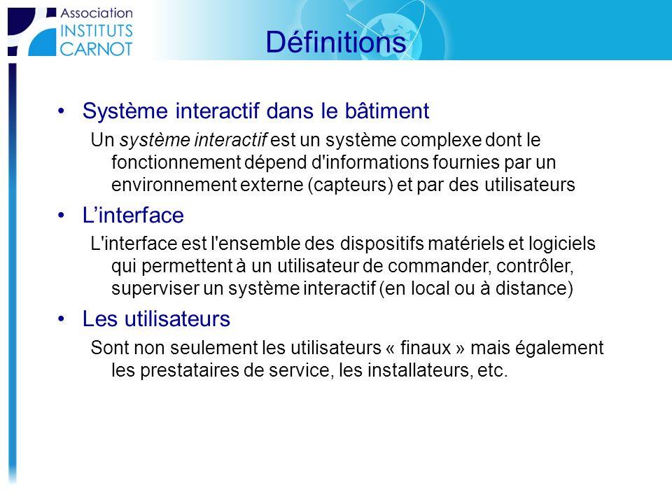 Définitions Système interactif dans le bâtiment Un système interactif est un système complexe dont le fonctionnement dépend d'informations fournies pa