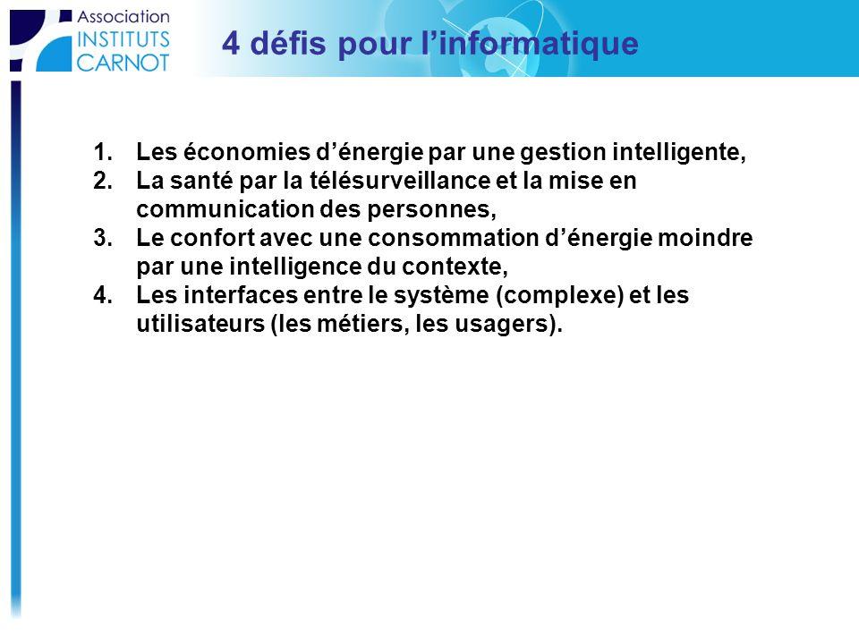 4 défis pour linformatique 1.Les économies dénergie par une gestion intelligente, 2.La santé par la télésurveillance et la mise en communication des p