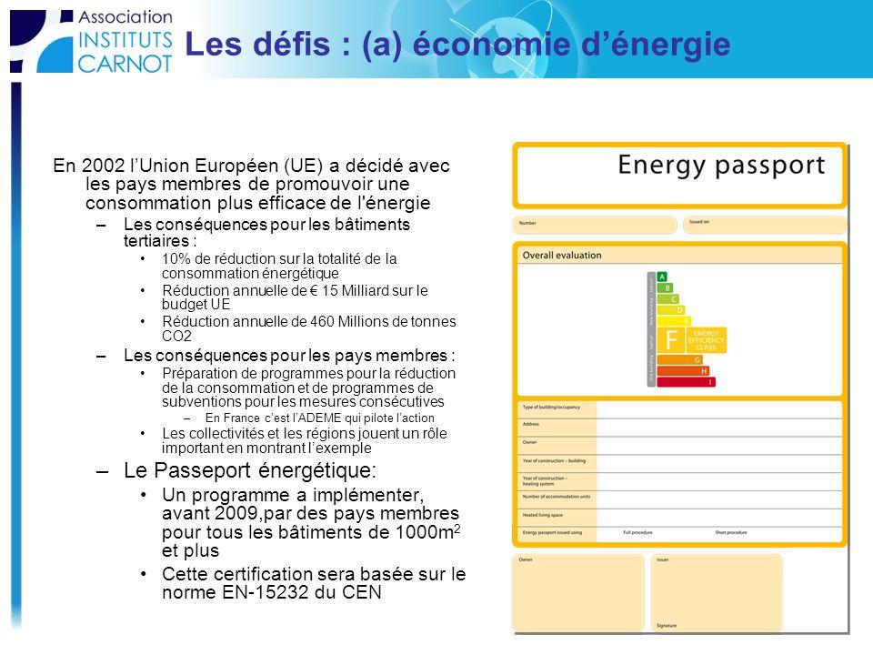 Les défis : (a) économie dénergie En 2002 lUnion Européen (UE) a décidé avec les pays membres de promouvoir une consommation plus efficace de l'énergi