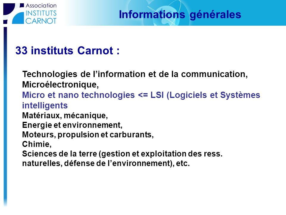 33 instituts Carnot : Informations générales Technologies de linformation et de la communication, Microélectronique, Micro et nano technologies <= LSI