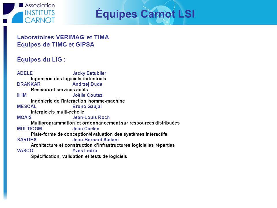 Équipes Carnot LSI Laboratoires VERIMAG et TIMA Équipes de TIMC et GIPSA Équipes du LIG : ADELE Jacky Estublier Ingénierie des logiciels industriels D