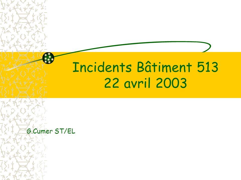 Incidents Bâtiment 513 22 avril 2003 G.Cumer ST/EL