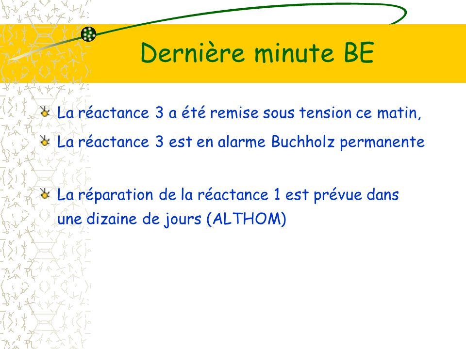 Dernière minute BE La réactance 3 a été remise sous tension ce matin, La réactance 3 est en alarme Buchholz permanente La réparation de la réactance 1 est prévue dans une dizaine de jours (ALTHOM)